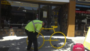 Mark Matherly of the City of Albany Public Works has been a one-man bike rack installation machine! Here he installs the Bike Bike Rack at T324.