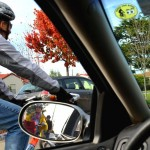 A Cling placed in a driver's windshield will help remind him/her to look for bikes!