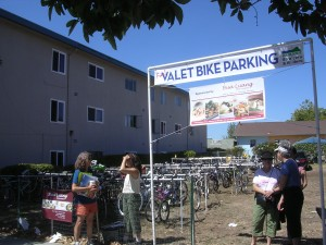 AS&R's Bicycle Valet Parking lot, sponsored by Bua Luang, at the 2012 Solano Stroll photo courtesy Mike Gill