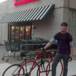 I went to BevMo to pick up something to drink while watching the World Series and met Paul from Berkeley. He loves BevMo and Albany Strollers & Rollers' new Dero Bike Bike Rack and encouraged me keep on installing them!