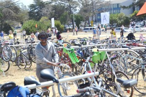 Najari checks out the variety of bikes that we parked Photo credit Francesco