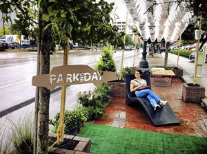 Here's an example of a parking space repurposed as a public space. Come see what ours has to offer!