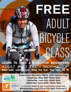 "Free Adult or Teen ""Learn to Ride"" Classes @ Berkeley YMCA 
