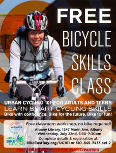 Urban Cycling 101 Classroom Workshop – Albany Library/Community Center @ Albany Library/Community Center   Albany   California   United States