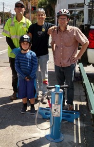 The intrepid installation team for Albany Strollers & Rollers' new public bike pump at the corner of Solano & Santa Fe. The City of Albany's Mark Matherly, AS&R's Amy Smolens & Dan Lieberman and Dan's son Sander