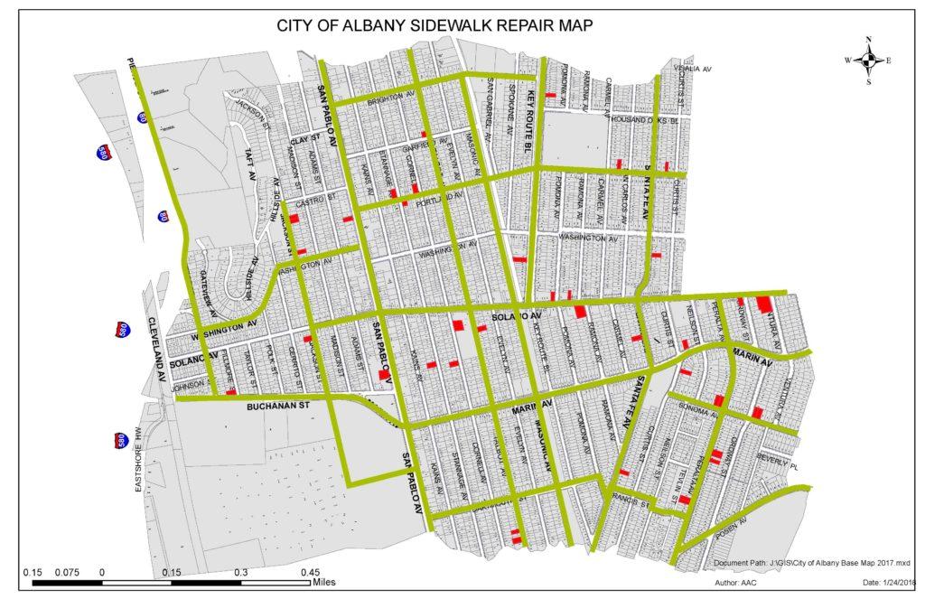City of Albany Sidewalk Repair Map, 1/24/2018